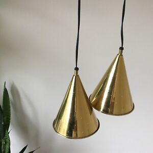 Rare Brass Pendant Light Lamps Mid Century Modern Atomic Vintage