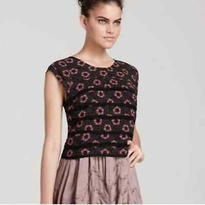 Free People Paper Hearts Tiered Crop Blouse Sz M