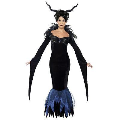 Erwachsene Damen Dunkel Rabe Böse Königin Demon Märchen Kostüm Buch Tag - Bösen Raben Kostüm