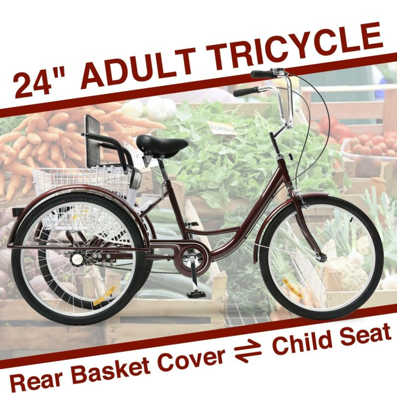 "24""Adult 3-Wheel Tricycle Comfortable w/Basket for Shopping"