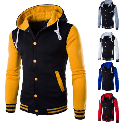 Mens Hoodie Baseball Varsity College Button Jacket Sweatshir