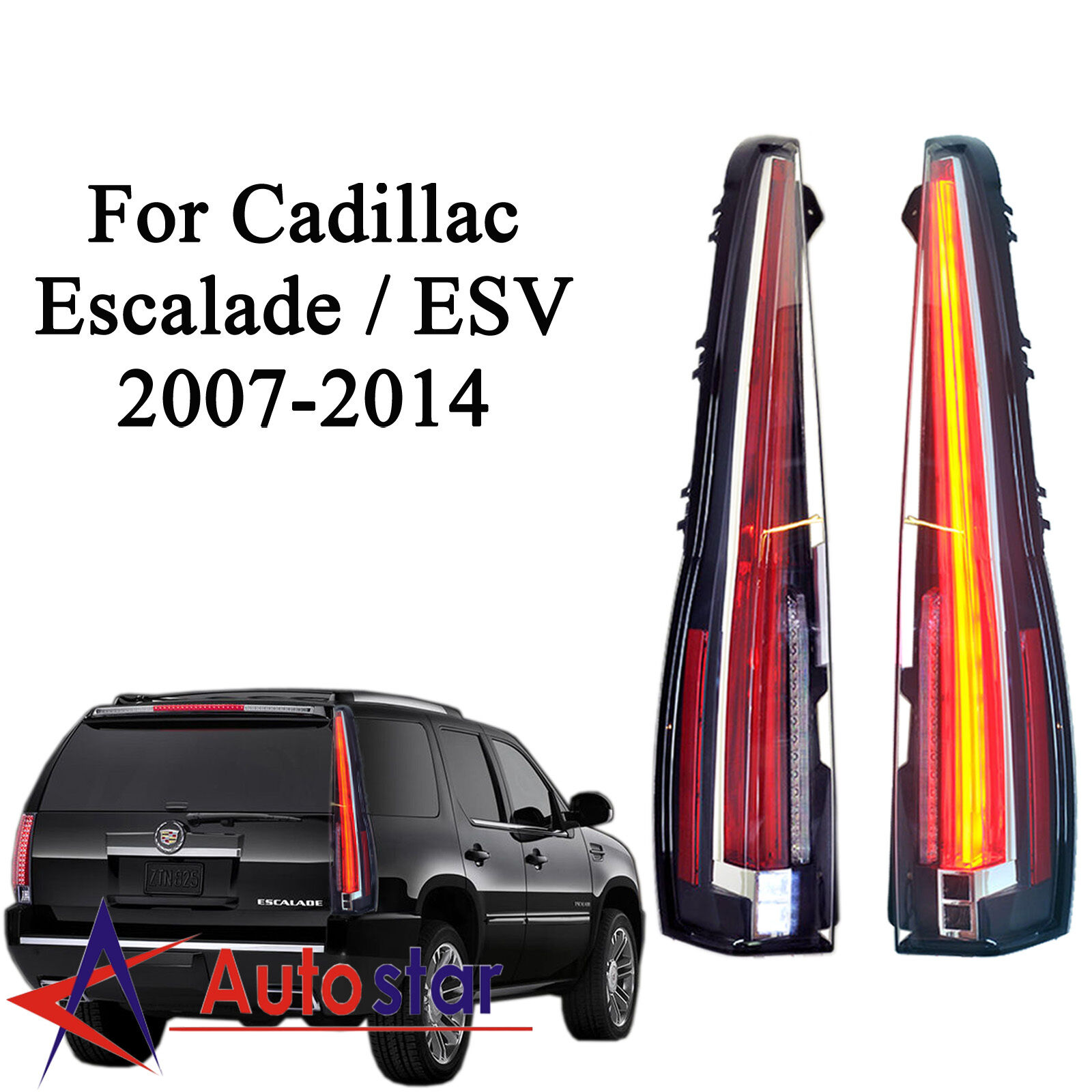 LED Tail Lights For Cadillac Escalade / ESV 2007-2014 Red