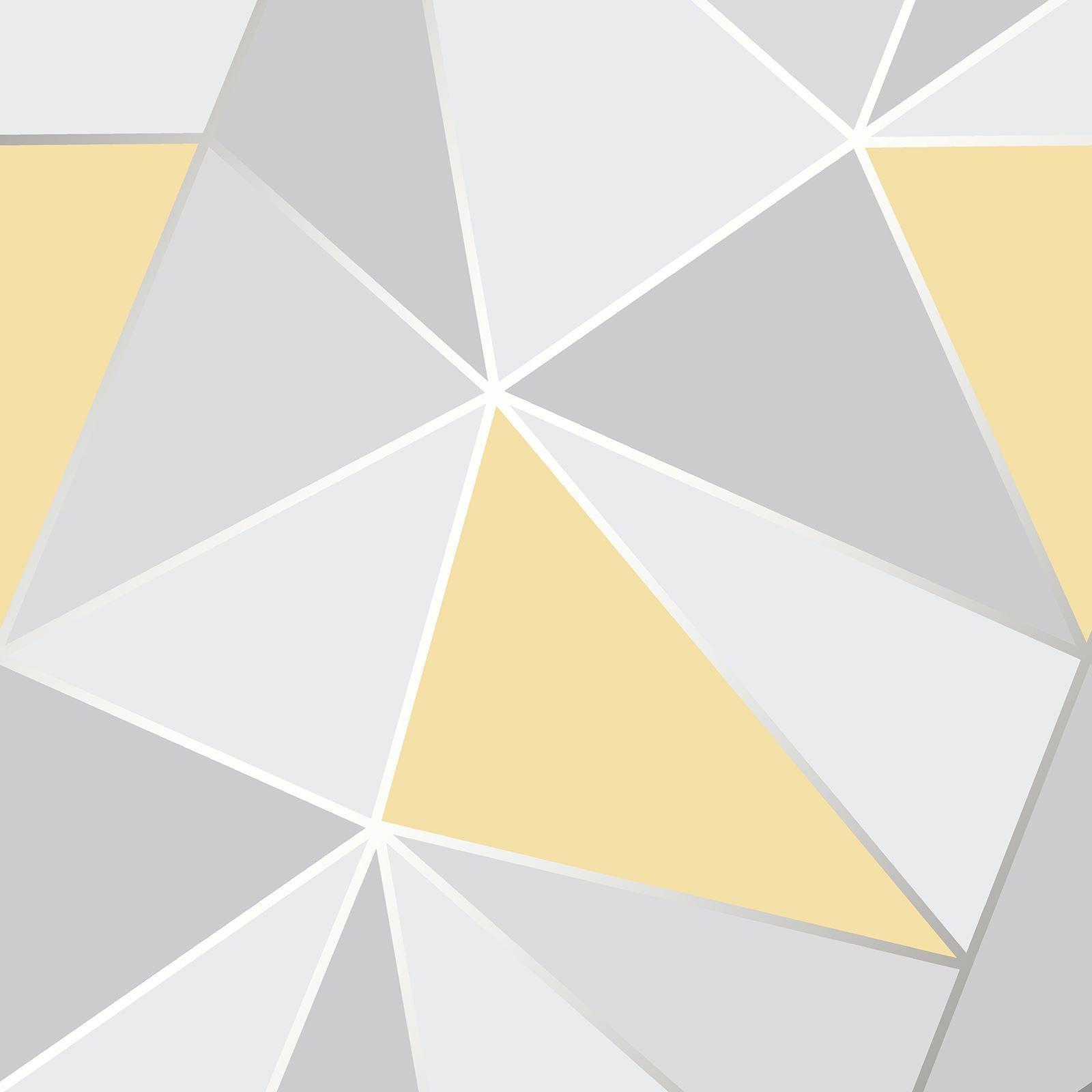 Fine Deco Apex Geometric Luxury Grey And Yellow Wallpaper Fd41991