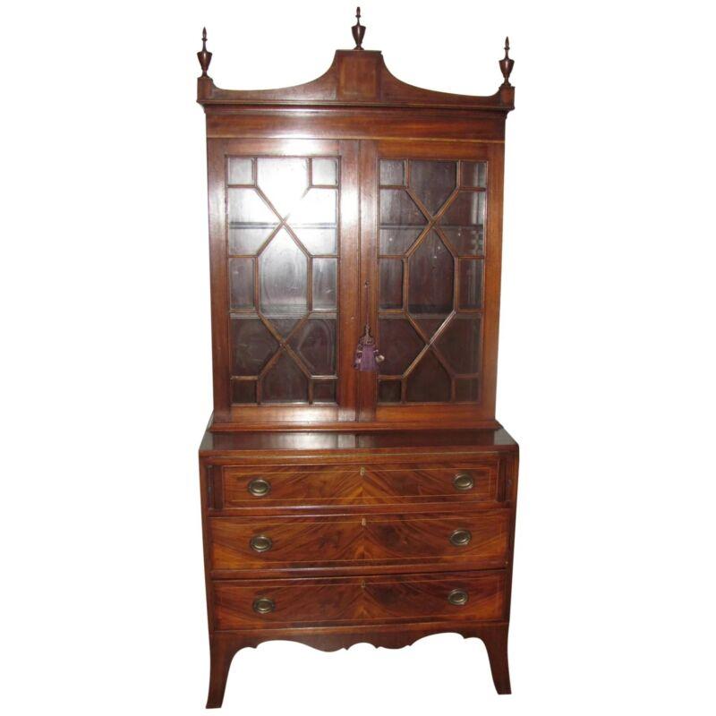 Antique American Federal Mahogany Secretary Bookcase Circa 1810