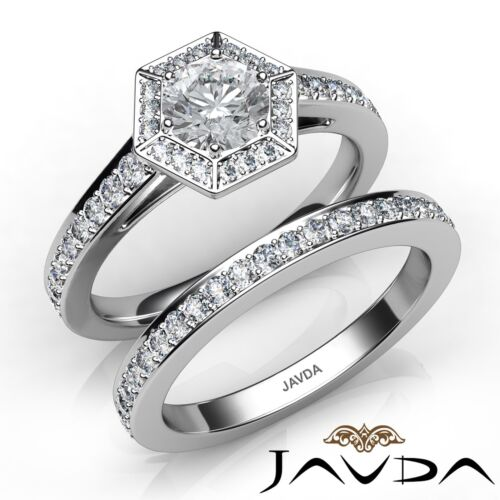 Round Diamond Engagement GIA E SI1 14k White Gold Hexagon Bridal Set Ring 1.5ct