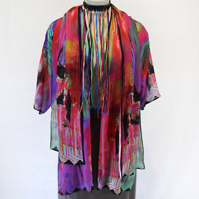 New Dilemma Plus Macke Inspired 100  Silk Caftan Wrap Scarf Set Os Fits Xl 1X 2X
