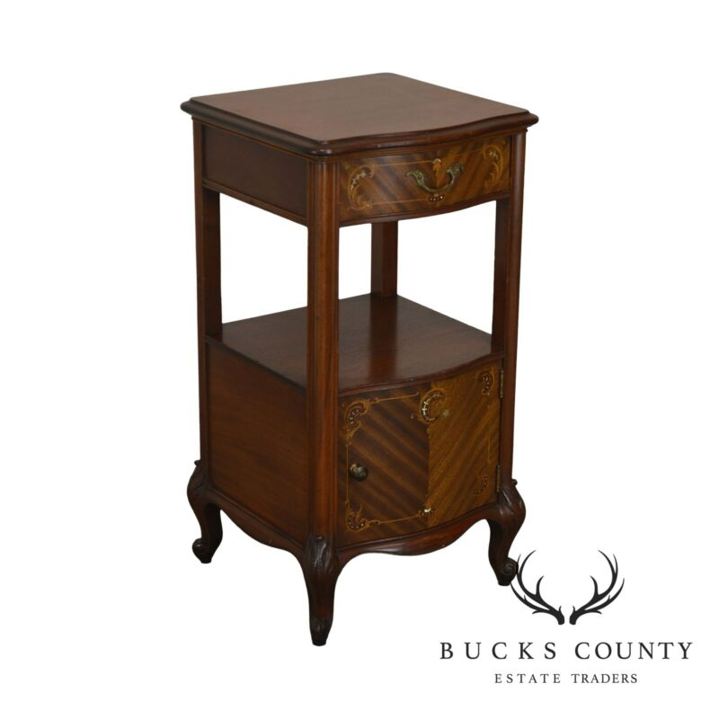 R. J. Horner Antique Marquetry Inlaid Mahogany Serpentine Nightstand