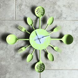 NEW Metal Kitchen Cutlery Utensil Wall Clock Spoon Fork Home Decor Green 12x12