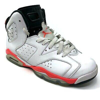 NIKE AIR JORDAN 6 Retro Boys 7Y Infrared White Basketball Shoes 384665-123 EUC