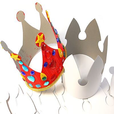 Plain White Tall DIY King & Queen Royal Paper Crowns Ready to Decorate 12 Pack