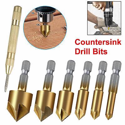 7x Countersink Drill Bit Set 5 Flute 90° Counter 6mm-19mm S