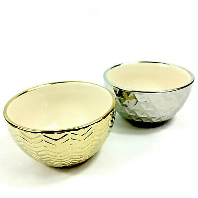 """Modern Expressions Metallic Gold Silver Decorative Bowls 4"""" Vanity Decor 2 Pack"""