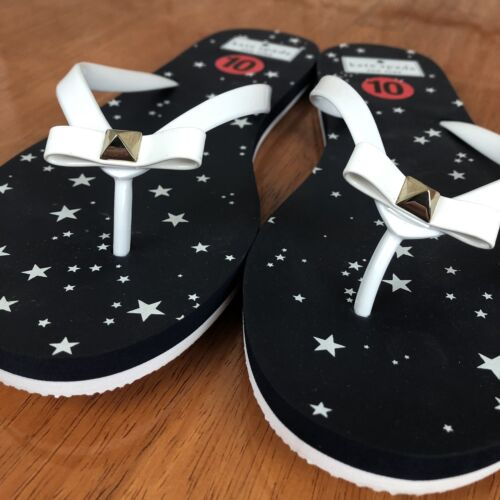 Kate Spade Nadine Flip Flops White Bow With Stud Navy Blue W