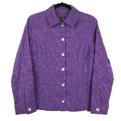 Additions By Chico's Button Front Long Sleeve Purple Women Jacket Size 1 M NWOT