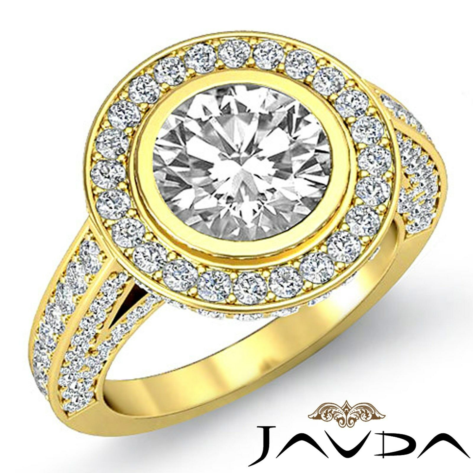 Classic Round Diamond Halo Pave Engagement Ring GIA F VS1 18k Yellow Gold 3.5ct