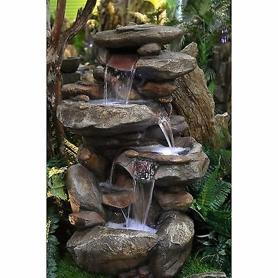 Waterfall Fountain Outdoor Indoor Stone Rock Garden Patio Backyard LED New