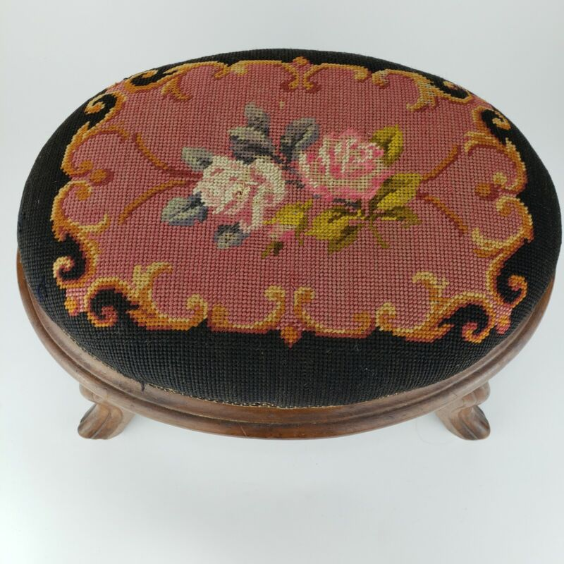 Antique Needlepoint American or French stool vintage Ottoman Footstool