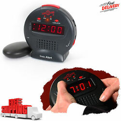 Sonic Alert Bomb Clock Bed Loud Alarm Shaker Vibrating Wake Up Bedroom Home NEW