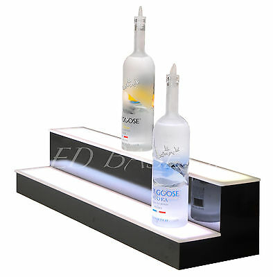 39 2 Step Glowing Led Lighted Back Home Bar Liquor Bottle Display Shelf Rack