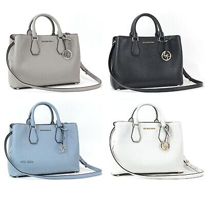 New Michael Kors Camille Large Satchel Pebbled Leather Crossbody Handbag Purse