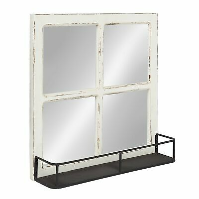 Classic Window Pane Accent Mirror Rustic Vintage Home Wall Decor Display White ()