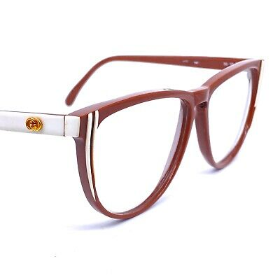 Gucci Gg25 Brown White Oversized Cateye Eyeglasses Frames. 1980s Italy NOS