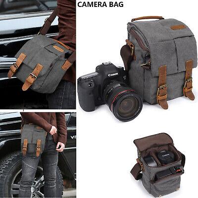 Vintage Waterproof Canvas DSLR SLR Camera Shoulder Messenger Bag Sling Backpack