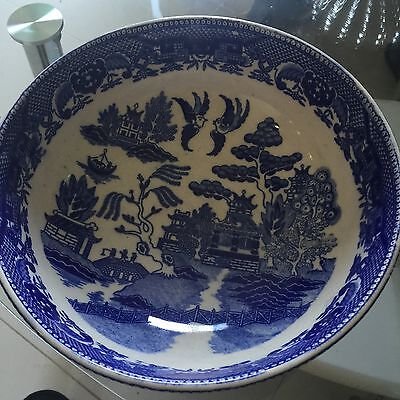 Vintage Allertnos Flow Blue Willow China Chinese Pagoda Big Serving Bowl Chinese Blue Willow