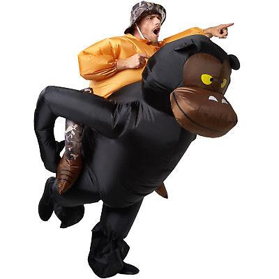 Unisex Kostüm aufblasbar Jäger Gorilla Aufsitzkostüm Huckepack Fasching - Unisex Kostüm