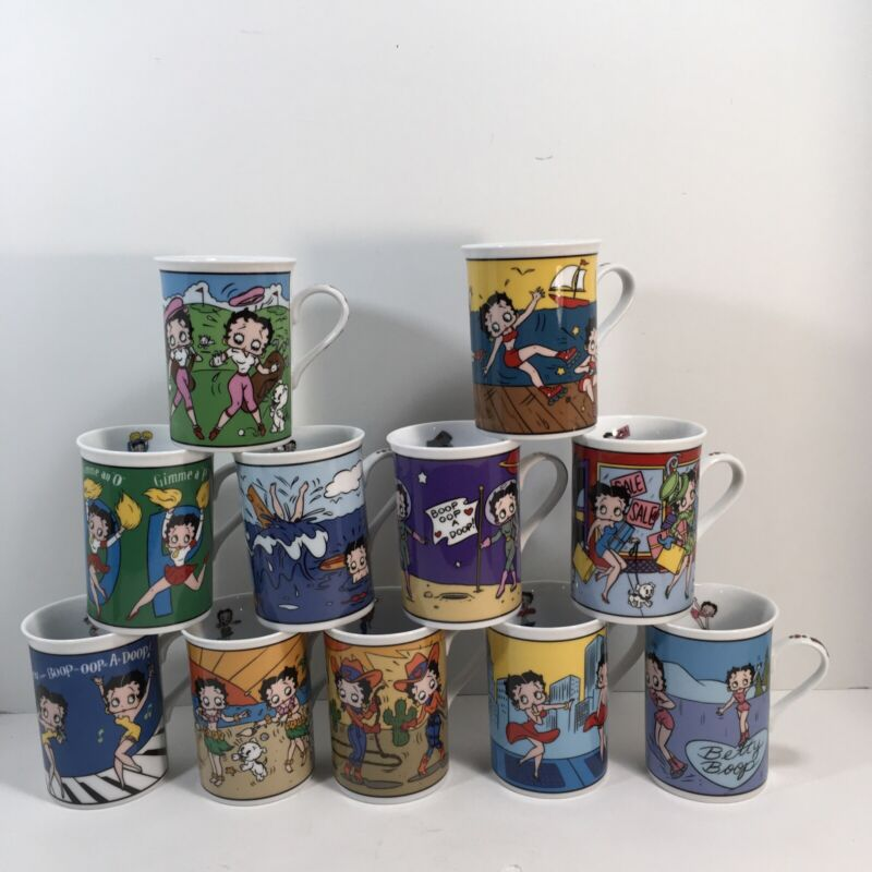 Betty Boop Collectors Mugs The Danbury Mint Fine Porcelain Set of 11 Coffee Tea
