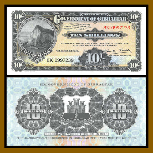 Gibraltar 10 shillings, 2018 P-New Official Copy of 1934 Nominal legal Tender