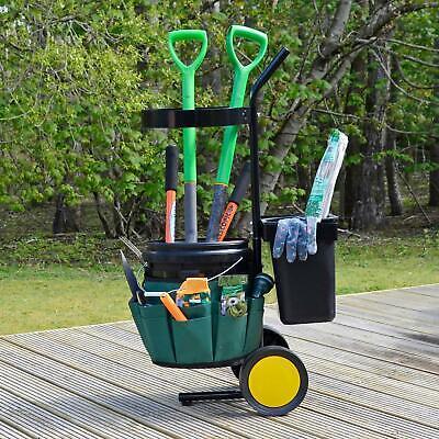 Azuma Garden Tool Caddy Trolley Tidy Cart 2 Buckets 18 Pocket Belt Sturdy Wheels