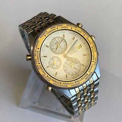 Seiko World Timer 5T52-7A20 Men's Quartz Watch Vintage Rare!