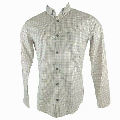 NEW Lacoste Mens 38 Small S Slim Fit Check Button Down Long Sleeve Dress Shirt