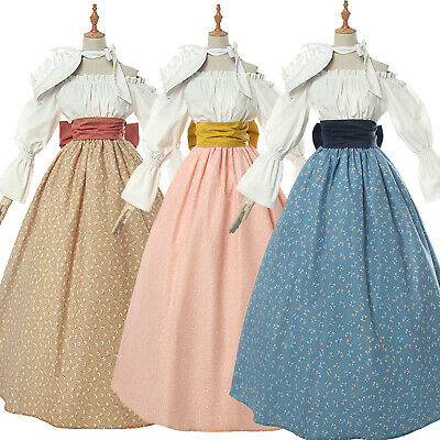 Women Floral Prairie Dress Deluxe Colonial Dress Pioneer Costume Victorian Skirt - Womens Colonial Dress