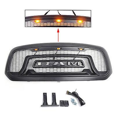 Grille Grill For Dodge Ram 1500 2013-2018 Mesh Rebel Style ABS Honeycomb Bumper