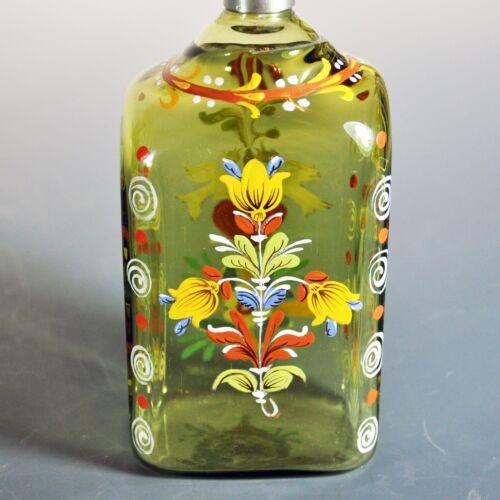 Fine Antique Stiegel Decorated Bottle - Pewter Cap - Mint Condition