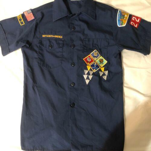 Official BSA Boy Scout Cub sht slv uniform shirt patches Catalina Cncl sz Lrg