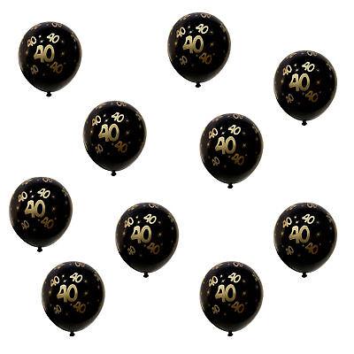 40 Geburtstag Ballons (10x Luftballons Zahl 40 für Geburtstag Jubiläum Hochzeitstag Ballons Schwarz)