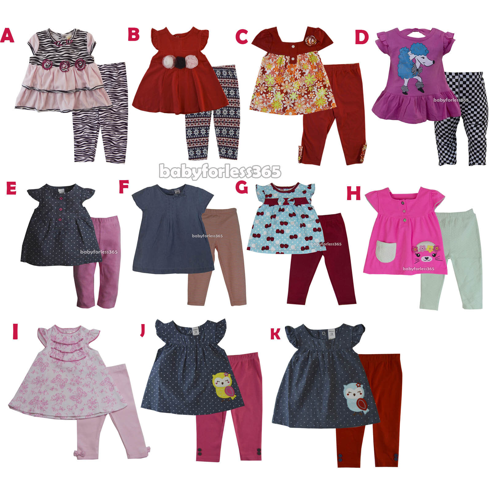 0c1b0dc3d New Carter s Baby Girls Outfit Clothes 2 pcs top legging 3 6 9 12 18 ...