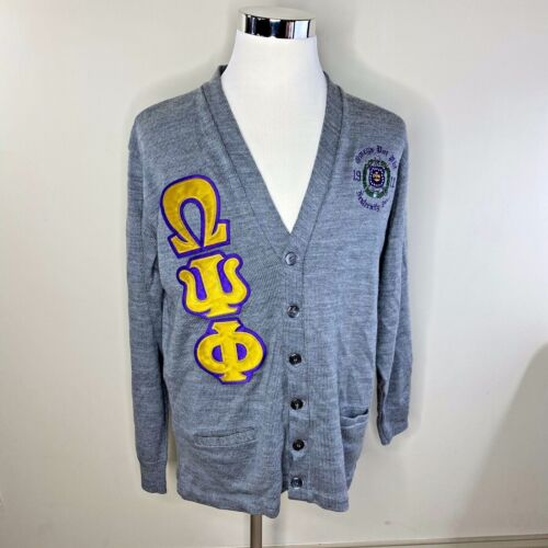 Omega Psi Phi Fraternity Cardigan Jacket Sweater Button Front Embroidered Men XL