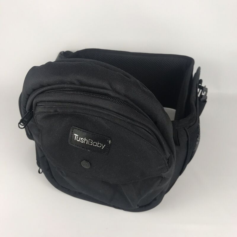 TUSHBABY Hip Waist Seat Baby Carrier Tote Pack Adjustable w/ Pockets - Black
