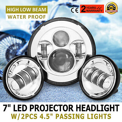"7"" LED Daymaker Headlight+Passing Lights for Harley Touring Siver"