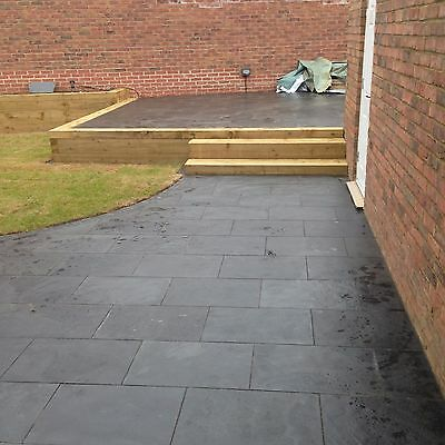 Black Slate Paving✔Patio Slabs Garden✔5m2 600x400mm  20mm Thick✔FREE✔DELIVRY✔ ()