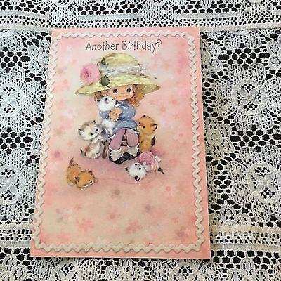 Vintage Greeting Card Birthday Cute Girl Hat Kittens Cat Pink