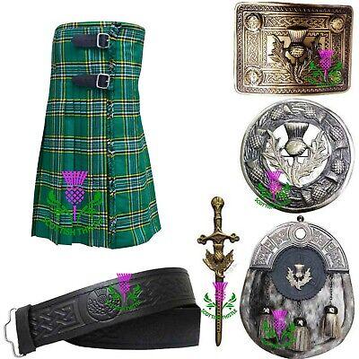 St Herren Schottische Irisch Grün Tartan Acryl 7.3m 455ml / Kilts Kostüm - Irische Mädchen Kostüm