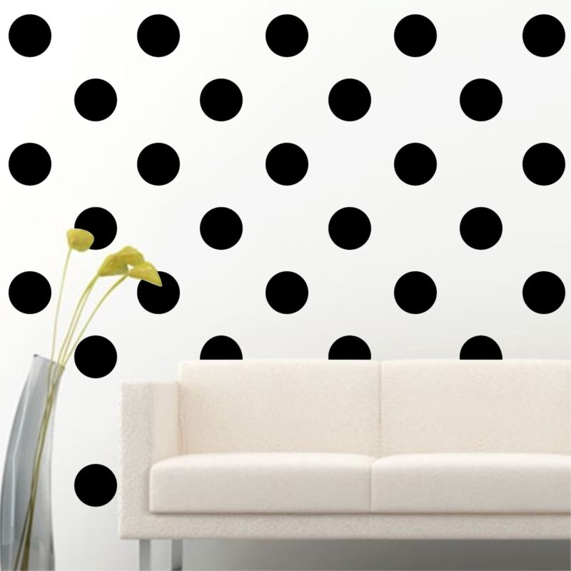 "100 of 4"" Black Polka Dots Circle Removable Peel Stick Wall Vinyl Decal Sticker"