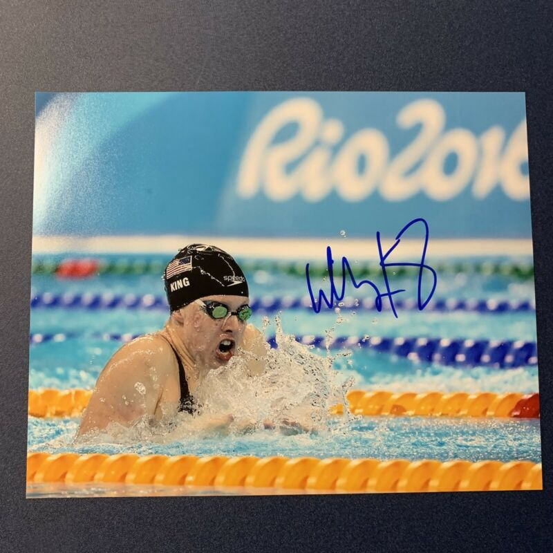 LILLY KING HAND SIGNED 8x10 PHOTO USA OLYMPICS SWIMMING GOLD AUTOGRAPHED COA