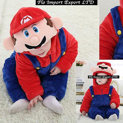 Super Mario Costume Carnevale Calda Tuta Bambino Baby Boy Costume Onesie SMAR01 (Baby Super Mario Kostüme)