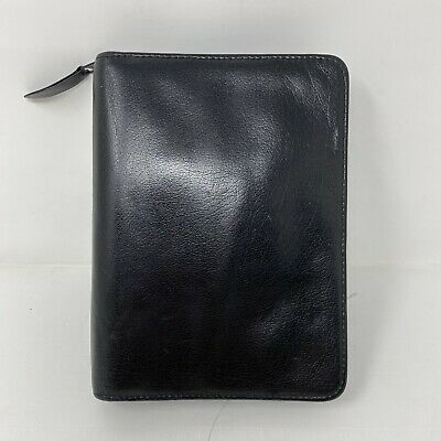 Franklin Convey Classic 1.5 6 Rings Black Leather Quest Zip Planner Binder